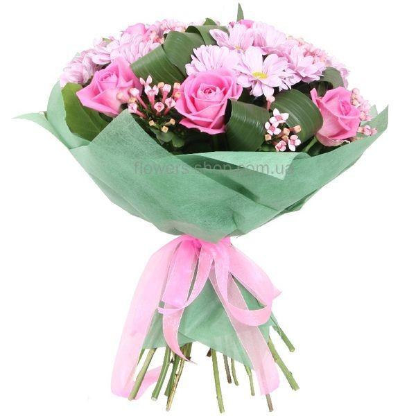 Букет из хризантем и розы своими руками фото