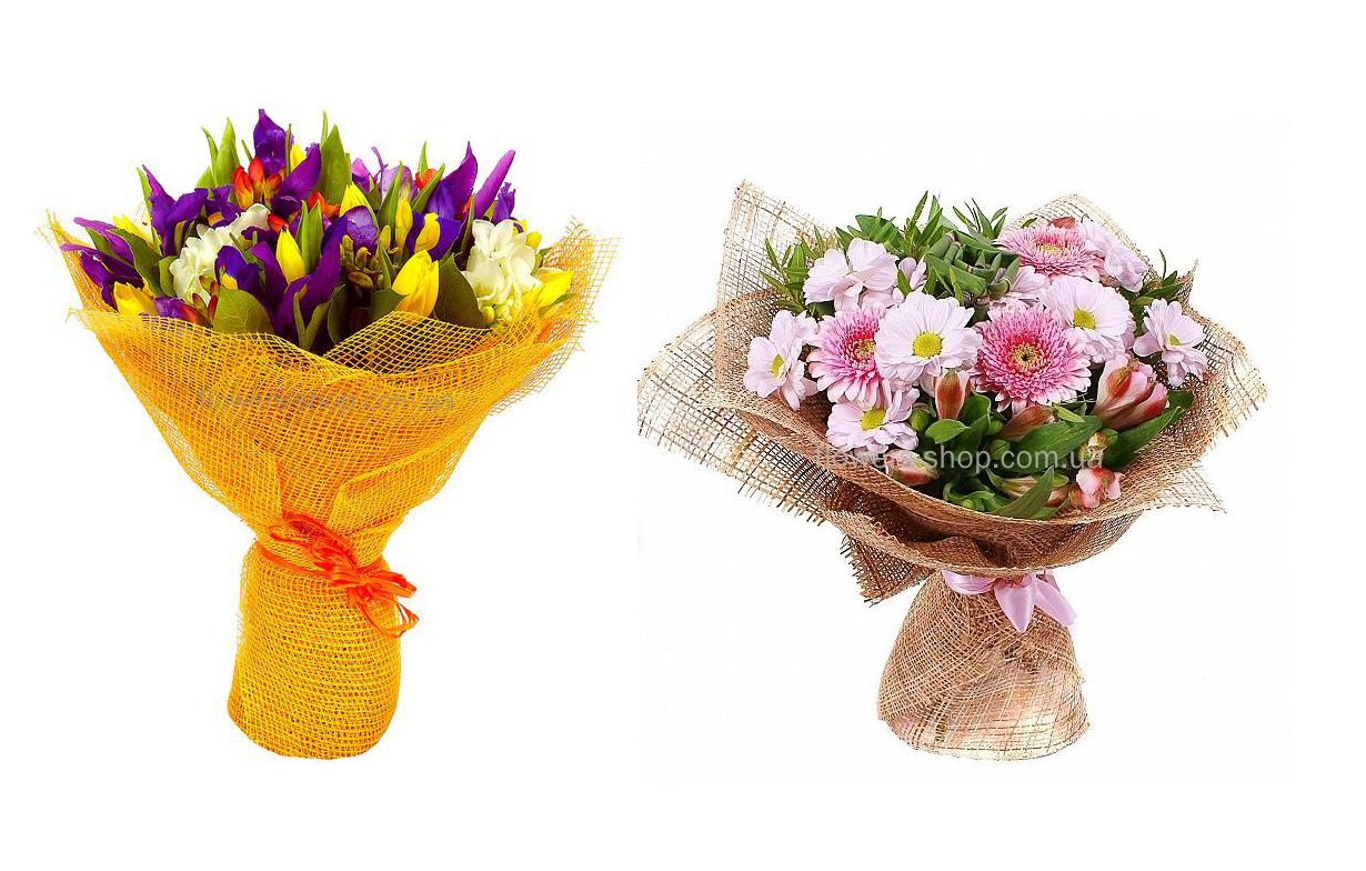 Оформление цветов своими руками букеты сетка 77