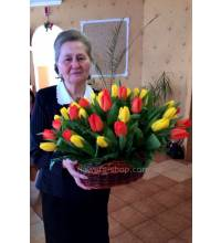 Basket with delivery tulips