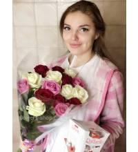 Букет разноцветных роз с доставкой в Тернополь