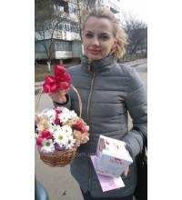 Корзина ромашек доставлена в Кировоград