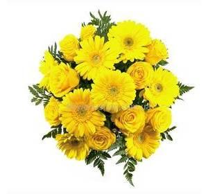 Желтый букет из роз и гербер, с зеленью