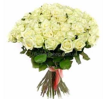 Букет из белых роз Аваланш, розы поштучно