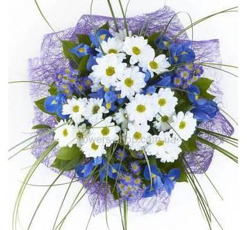 Букет из ирисов и хризантем, в синей упаковке