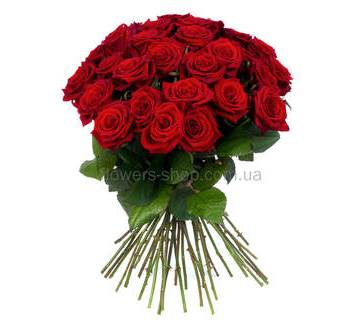 Круглый букет из ярко-красных роз, количество на выбор