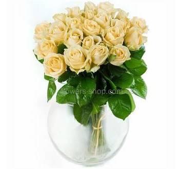 Персиковые розы, круглый букет, розы поштучно