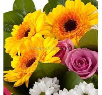 Желтые герберы, розовые розы, ромашковая хризантема