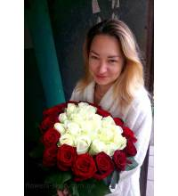 Heart of red roses delivered by courier in Ivano-Frankivsk