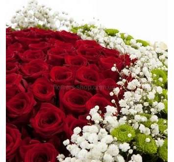 Красные розы, гипсофила и хризантема Филинг Грин