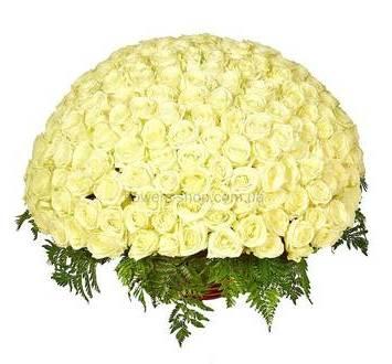 Огромная корзина с белыми розами Аваланч и декоративной зеленью