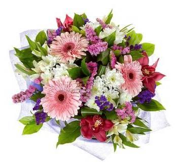 Букет с розовыми герберами, орхидеями цимбидиум и статицей