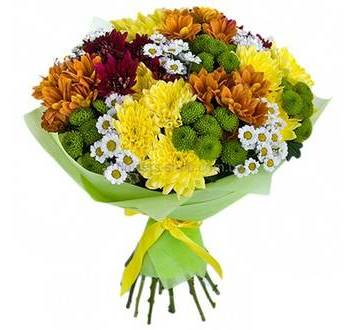 Разноцветных веточные хризантемы в букете