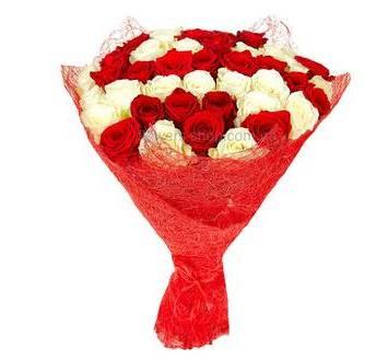 красные розы Престиж и белые сорта Аваланч собранные в букет и упакованные в красный сизаль