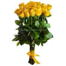 Высокие импортные розы желтого цвета