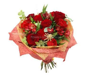 Букет из роз, гвоздик и альстромерий