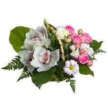 Корзина с орхидеями, розами, эустомами и хризантемами