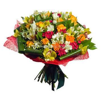 Букет из роз, альстромерий и орхидей цимбидиум