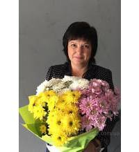 Olga from Lubny with a bouquet of chrysanthemums