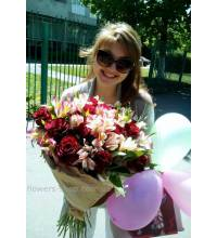 Bouquet with roses and alstroemerias delivered in Odessa