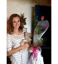 Roses with soft Teddy bear for girls in Pavlograd