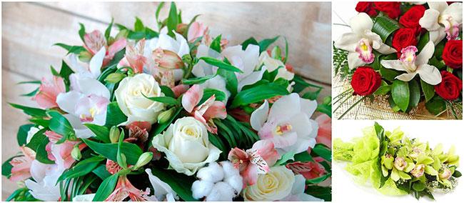 орхидеи в букете