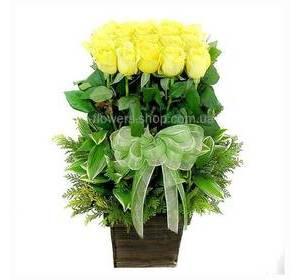 Желтые розы с декоративной зеленью в кашпо