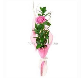 Одна розовая роза с зеленью и декором