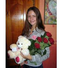 Roses and Bear delivered in Khmelnitsky
