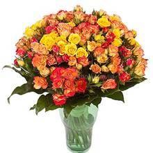 Букет из многобутонных роз разных цветов