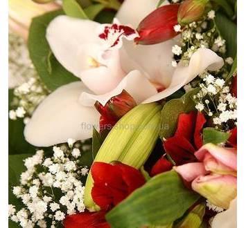 Белые орхидеи, бутоны лилий, красные альстромерии, гипсофила