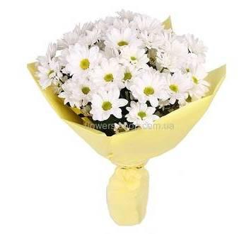 Букет белых хризантем, с упаковкой