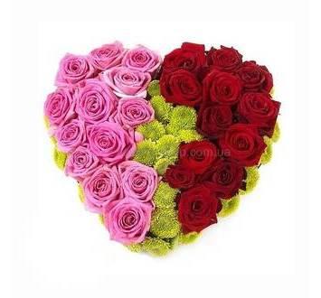 Сердце из красных и розовых роз, с зелеными хризантемами