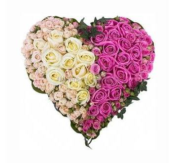 Бело-розовое сердце из роз на оазисе