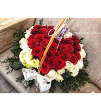 Arrangement of roses in the shape of heart