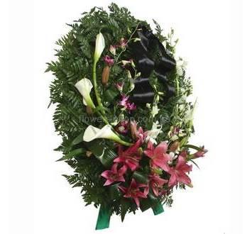 Похоронный венок из калл, лилий, орхидей дендробиум